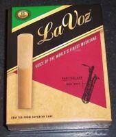 Brand New Rico La Voz Baritone Saxophone Sax Reeds Medium Soft Box of 10