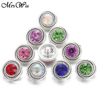 New 10pcs/lot New Rhinestone 12mm Snaps Buttons Fit Noosa Bracelets Jewelry