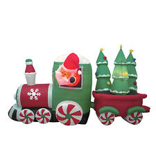 Christmas Lighted Inflatable Air Blown Decoration Santa Claus Train Candy Wheel