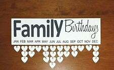 Family Birthday Plaque Sign Wood Calendar Anniversary Wall Art Country Home Deco