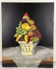 16x20 Oil Painting Fruit Still Life Ironstone Bowl Lace Cloth Farm Table signed