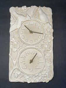 Whitehall Cardinal Clock w Thermometer Dial Outdoor Indoor Faux Stone Resin Bird