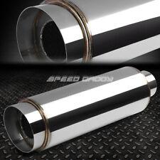 "3""Inlet 4.5"" Chrome Slant Tip+Silencer T304 Steel Racing Round Exhaust Muffler"
