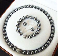 10mm Grey South Sea Shell Pearl Necklace 18'' Bracelet 7.5'' Earrings Set PN638