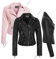 Size 8 10 12 14 NEW Womens BIKER JACKET Crop FAUX LEATHER Ladies ZIP Coat PU