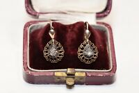 ANTIQUE 14K GOLD VICTORIAN NATURAL ROSE CUT DIAMOND DECORATED PRETTY EARRING
