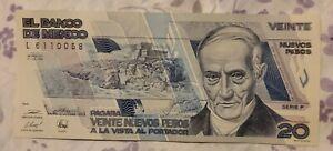 1992 México 20 Nuevos Pesos Banknote