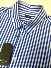 Paul Smith Shirt, Blue & White Striped, Long Sleeves, Slim Fit, Cotton