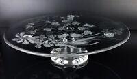 Walther Glas Kristallglas Tortenplatte Kuchenplatte mit Fuß Gebäckteller Rosen