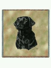 """Pure Country 1137-LS Labrador Retriever Black Blanket Canine on Beige 54""""X54"""