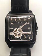 Mens Bulova Automatic Watch Square Black Ion Steel Leather Genuine
