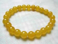 8mm natural yellow jade round beads stretch bracelet