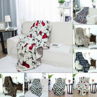 Printed Throw Blanket Fuzzy Bed Throws Fleece Reversible Blanket for Couch Sofa