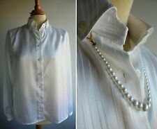 Vintage m&s St Michael weiß gestreiftem Satin Bluse Shirt Top Perlenkette uk12