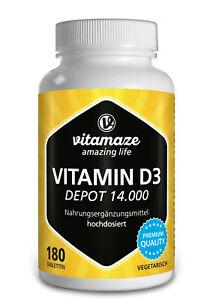 (€16,64/100g) Vitamin D3 Depot 14.000 i e (iu) hochdosiert - 180 veg Tabletten