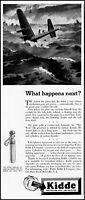 1943 Plane crash in water Kidde gases co ocean waves vintage art Print Ad  adL47