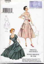 VOGUE SEWING PATTERN 9106 MISSES SZ 6-14 RETRO 1952 PULLOVER ROCKABILLY DRESS