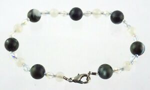 Abalone and Quartz Beaded Bracelet Iridescent Faceted Beads 7 Inches 8.8 Grams