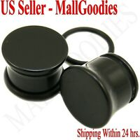 "0937 Black Acrylic Single Flare Ear Plugs 1/2"" Inch 12.7mm MallGoodies One Pair"