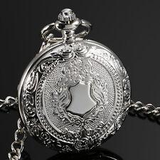 ESS Men Pocket Watch Mechanical Silver Case Full Hunter See Through Chain Luxury