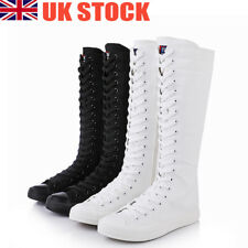 Women Girl PUNK EMO GOTHIC Shoes Sneaker Zip Lace Up Canvas Boots Knee High Size