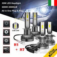 2 coppie 55W H7 & H1 20000LM Auto LED Faro Lampade Lampadina Kit Bianco 6000K