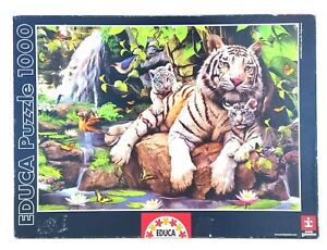 EDUCA PUZZLE White Tigers Of Bengal 1000 Piece Jigsaw Puzzle COMPLETE 68 x 48cm