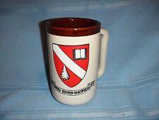 Vintage Monmouth USA Mug Stein Stoneware Pottery Vir Bonus Semper Discipulus Est