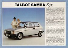 Talbot Samba Style Limited Edition 1985 UK Market Leaflet Sales Brochure