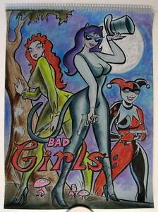 HARLEY QUINN CATWOMAN POISON IVY 'BAD GIRLS' Original PASTEL DRAWING Bennett Art