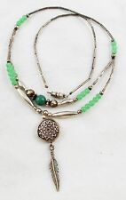 "Vintage Silver Indian Pendant on 19"" Green and Silver Bead Necklace T2"