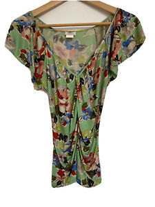 Collette Dinnigan Women's Green Floral Top Size XS 100% Silk Gathered Front