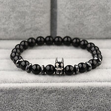 Charm Black Batman Men 8mm Black Natural Onyx Round Male Hematite Bead Bracelets