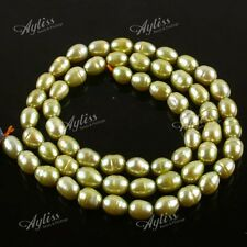 "14.5"" Olive Green Freshwater Pearl Rice Loose Beads Fashion Jewellery Findings"