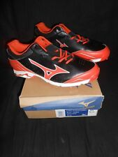 Mizuno 9 Spike Advanced Classic 7 Black Orange Baseball Metal Cleats Shoes Sz 16