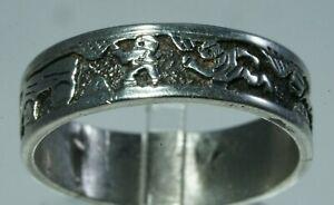OLD PAWN Sterling Silver STORYTELLER Ring, 4g, Size 9.25, Tom & Sylvia Kee TSK