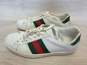 Authentic Gucci Sneakers Men Web Strip Ace White Sneakers 386750 Sz. US 7 EU 40