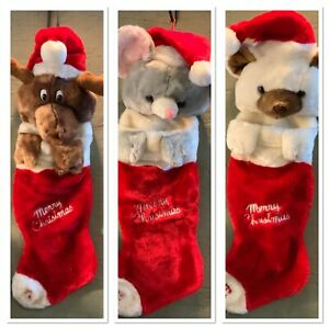 Velour Playful Plush Large 3D Musical Christmas Stockings Vintage 1980's UEC