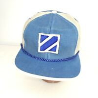 Vintage Blue Leather Strap Trucker Rope Cap Hat Blue White Mesh Destroyed
