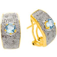 1.29 CT GENUINE DIAMOND & BLUE TOPAZ PLATINUM OVER 925 STERLING SILVER EARRINGS