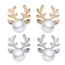 Hot Xmas Fashion Christmas Pearl Deer Earrings Ear Stud Women Girls' Jewelry