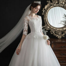 Princess Wedding White Dress One-shoulder Sleeves Lace Bride Wedding Dress