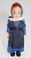VINTAGE YOUNG WOMAN PEASANT DOLL WITH HANDMADE BLUE OUTFIT, BLACK APRON & SHOES