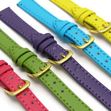 ladies 10mm leather straps pink,blue,green,yellow.leather,two piece,steel buckle