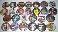 26 Hammer Horror badges 25mm Dracula Brides Frankenstein Revenge of the Mummy