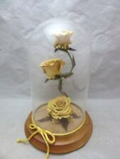 New listing Nordflor dried yellow roses under glass dome