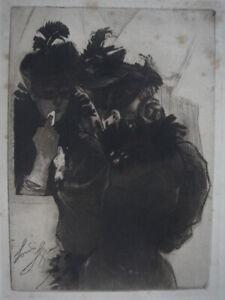 """1898 - Louis LEGRAND """" Femme au Miroir """"  GRAVURE à l' AQUATINTE"""