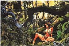 Budd Root SIGNED Cavewoman Comic Art Print ~ Mirror Mirror