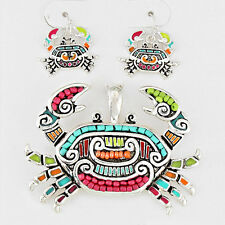 Crab Pendant Earrings SET Metal Beaded MULTI COLOR SHELL Sea Life Beach Jewelry