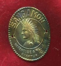 Rare Prewar  BRASS  SANGAMON Indian Head Badge  Morehouse and Wells Decatur,Ill.